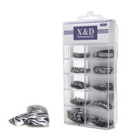 XD Design Nagel Tips 70 Stk. Silver Zebra