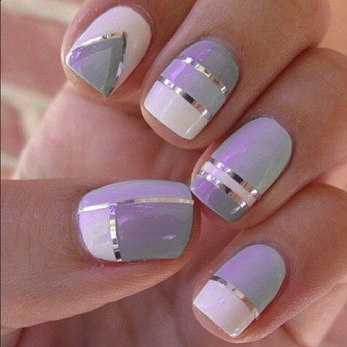 nail art klebestreifen 6mm zickzack muster silber - Nailart Muster