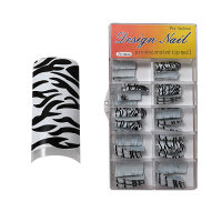 Design Nagel Tips - Pro Fashion White Zebra